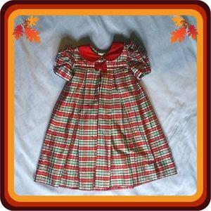 Strasburg Silk Empire Waist Pleated Holiday Dress